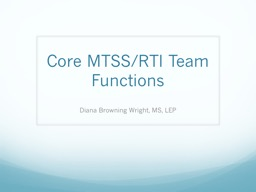 Core MTSS/RTI Team Functions