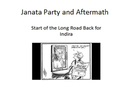Janata Party and Aftermath
