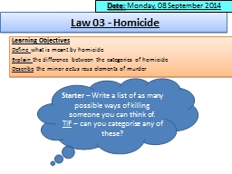 Law 03 - Homicide Learning Objectives