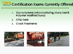 Certification Exams Currently Offered