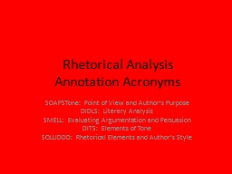 Rhetorical Analysis  Annotation Acronyms