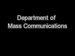 Department of Mass Communications