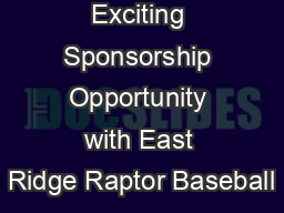 Exciting Sponsorship Opportunity with East Ridge Raptor Baseball