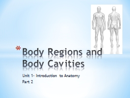 Unit 1- Introduction to Anatomy