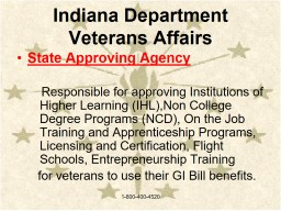 Indiana Department  of Veterans