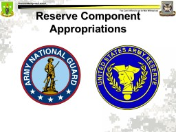 Reserve Component Appropriations