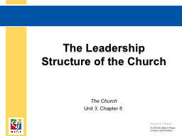 The Leadership Structure of the Church