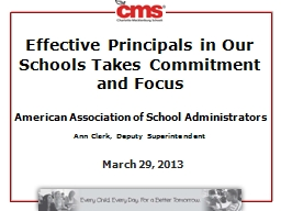 Effective Principals in Our Schools Takes Commitment and Focus