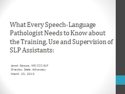 What Every Speech-Language Pathologist Needs to Know about