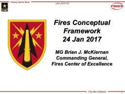 AUSA AMD Hot Topic: Fires Conceptual Framework Supporting Multi-Domain Battle