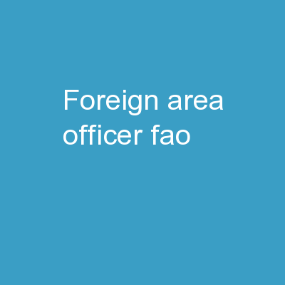 Foreign Area Officer (FAO)