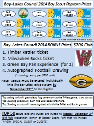 Bay�Lakes Council 2014 Boy Scout Popcorn Prizes