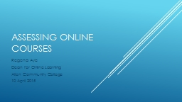 Assessing Online Courses