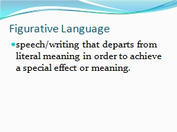 Figurative Language speech/writing
