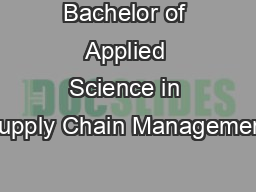 Bachelor of Applied Science in Supply Chain Management