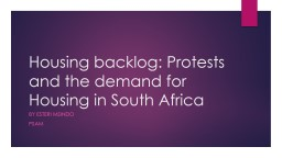 Housing backlog: Protests and the demand for Housing in South Africa