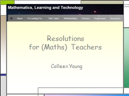 Resolutions for (Maths) Teachers