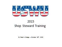 2015 Shop Steward Training