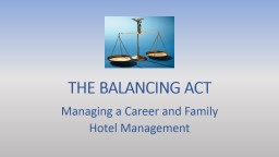 THE BALANCING ACT Managing a Career and