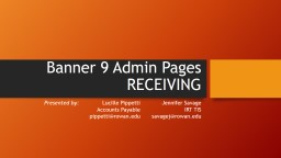 Banner 9 Admin Pages RECEIVING PowerPoint PPT Presentation