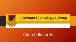Church Records Types of Records