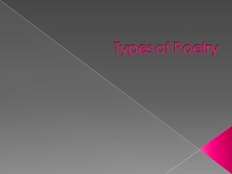 Types of Poetry Ballad Songlike poem that tells a story, often a sad story or an adventure. PowerPoint PPT Presentation