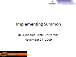 Implementing  Summon @ Oklahoma State University