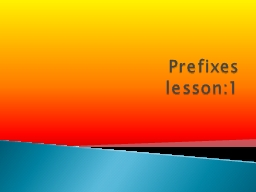 Prefixes lesson:1 Definition : is a word part that is added to the beginning of a base word . A pre