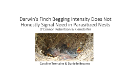 Darwin's Finch Begging Intensity Does Not Honestly Signal Need in