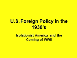 U.S. Foreign Policy in the 1930's