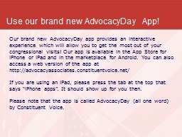 Use our brand new  AdvocacyDay