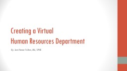 Creating a Virtual  Human Resources Department PowerPoint PPT Presentation