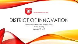 District of Innovation Greenville Independent School District