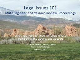 Legal Issues 101  State Engineer and