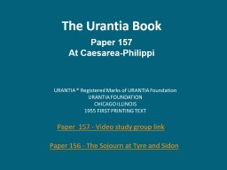 The Urantia Book Paper 157
