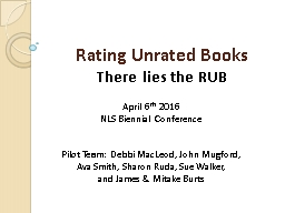 Rating Unrated Books There lies the RUB