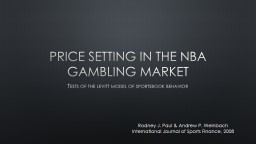 Price setting in the  nba