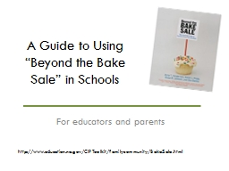 "A Guide to Using ""Beyond the Bake Sale"" in Schools"