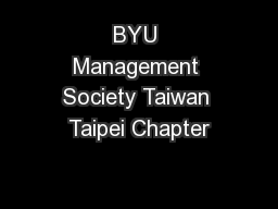 BYU Management Society Taiwan Taipei Chapter