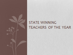 State Winning Teachers of the Year
