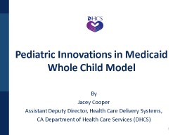 1 Pediatric Innovations in Medicaid
