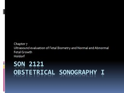 SON 2121 Obstetrical Sonography I