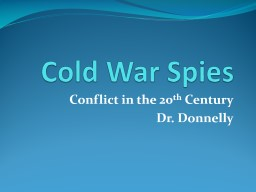 Cold War Spies Conflict in the 20