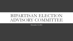 Bipartisan Election Advisory Committee