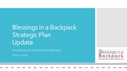 Blessings in a Backpack Strategic Plan
