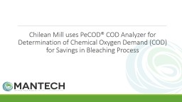 Chilean Mill uses  PeCOD® COD Analyzer