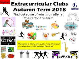 Extracurricular Clubs Autumn Term 2018