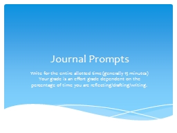 Journal  Prompts Write for the entire allotted time (generally