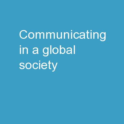 Communicating in a Global Society