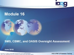SMS, CBMC, and OASIS Oversight Assessment
